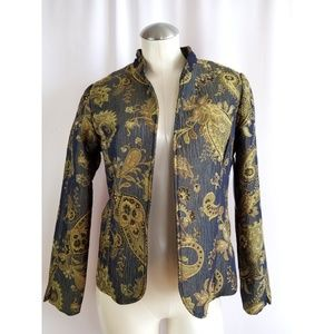 Erin London Size S Gold Blue Brocade Blazer